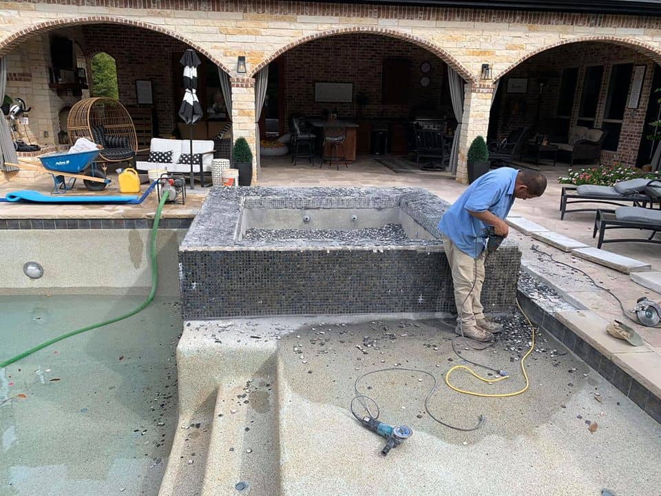 hot tub being remodeled